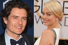 Orlando Bloom trying to charm Margot Robbie