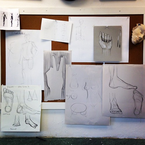 Demo wall for figure drawing.  When teaching this class I try to channel the (great) professor Ballestrari who I had at UWO:   Get the entire figure on the page! Heads are not circles! Look at the negative shapes! :)