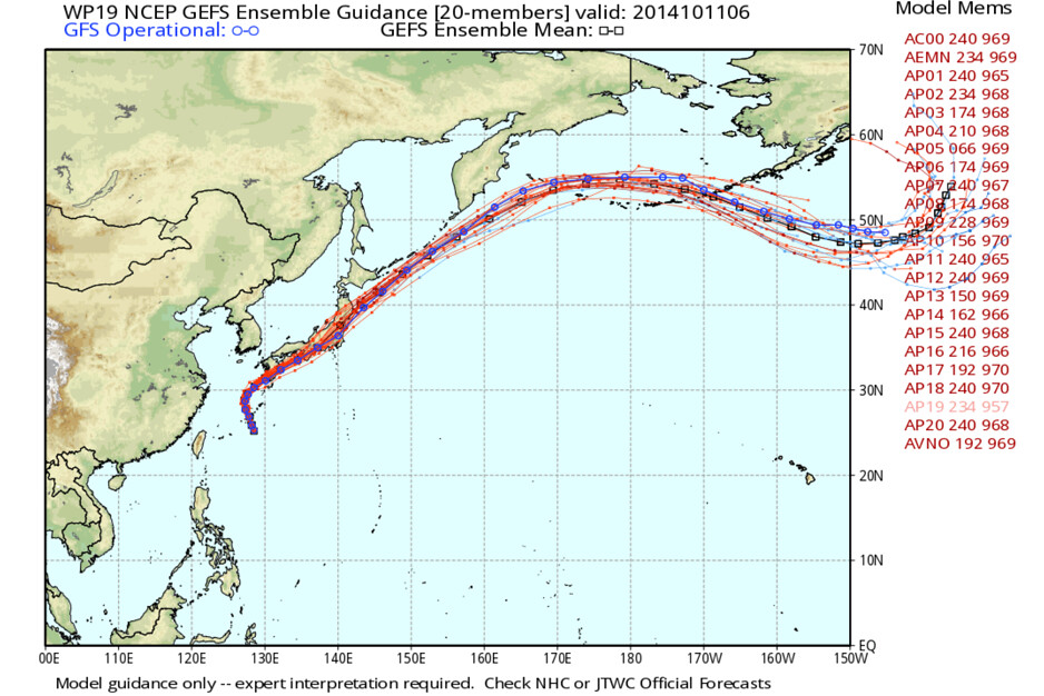 Vongfong GEFS Ensemble Guidance | WeatherBell Analytics