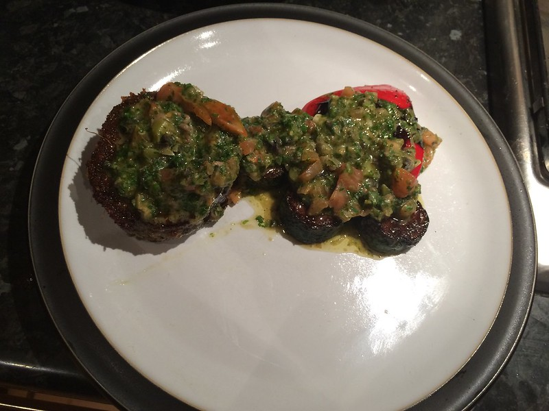 Herb crusted rack of lamb : Layer the vegeatbles and drizzle with Salsa Verde