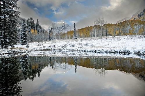 reflection fall canon landscape colorado aspen maroonbells