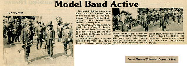 "October 15, 1984 Band Article in ""The Observer"""