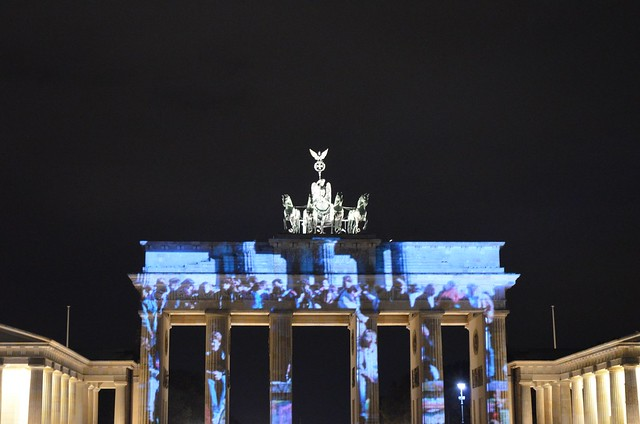 10th Berlin Festival of Lights _Brandenburg Gate Brandenburger Tor crowd illumination