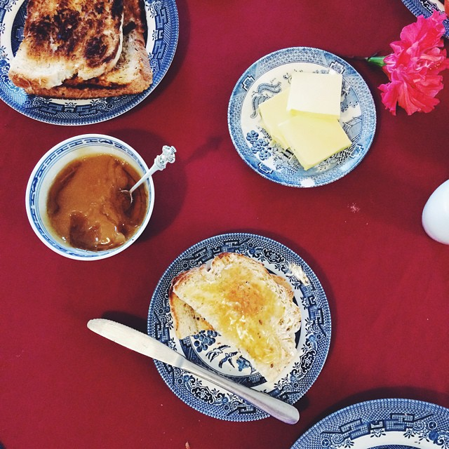 Local honey and butter on toast with black tea for breakfast, because country.