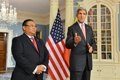 U.S. Secretary of State John Kerry and Burmese Foreign Minister Wunna Maung Lwin address reporters before their bilateral meeting at the U.S. Department of State in Washington, D.C., on September 30, 2014. [State Department photo/ Public Domain]