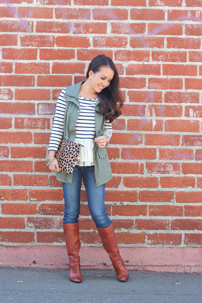 Olive Vest and Stripes