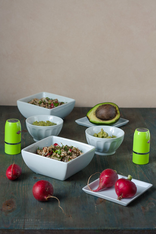 Buckwheat with soy sauce and radish and avocado mousse