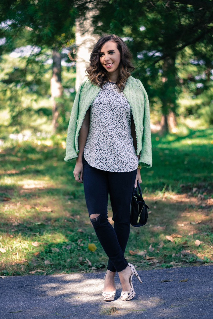 green tweed blazer.  madewell high riser destroyed black denim. fall style. va darling. andréa viza. dc blog. dc blogger. dc fashion. 8