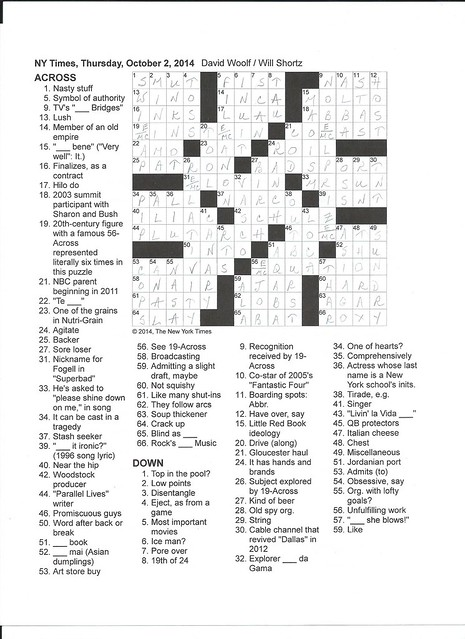 NYT Thursday Puzzle - October 2, 2014
