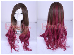 70cm Long Charm Zipper Lolita Mix brown wine Cosplay wig C45