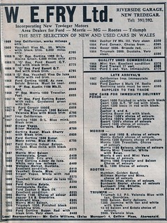1969 ADVERT - W E FRY LTD USED CAR SALES RIVERSIDE GARAGE NEW TREDEGAR