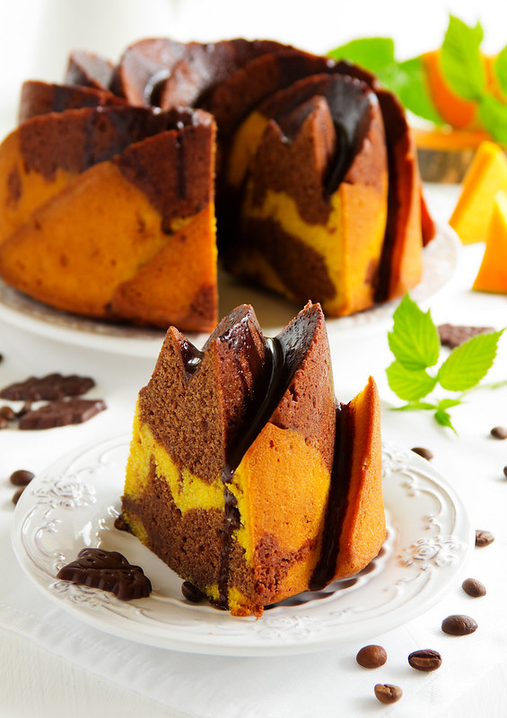 Pumpkin chocolate cake with frosting.