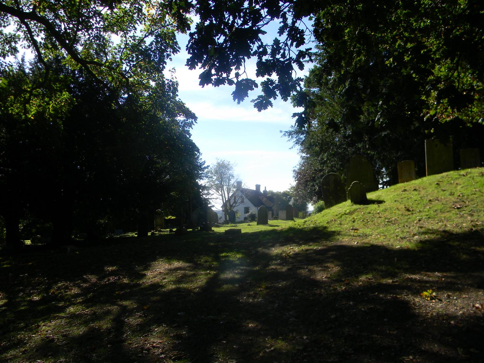 Approaching Burwash churchyard Stonegate Circular