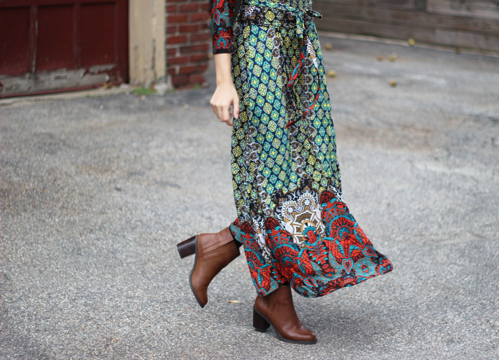 Forever21 Slit Faux Leather booties and Daily look colorful mixed print maxi dress