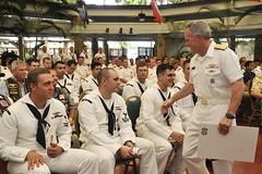 Rear Adm. Phil Sawyer, commander of Submarine Force, U.S. Pacific Fleet, thanks Sailors of USS La Jolla (SSN 701) for their service during a farewell ceremony. (U.S. Navy/MC1 Steven Khor)