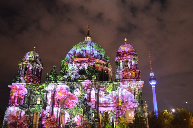 10th Berlin Festival of Lights _Berliner Dom cathedral Fernsehturm TV tower pink flower illumination