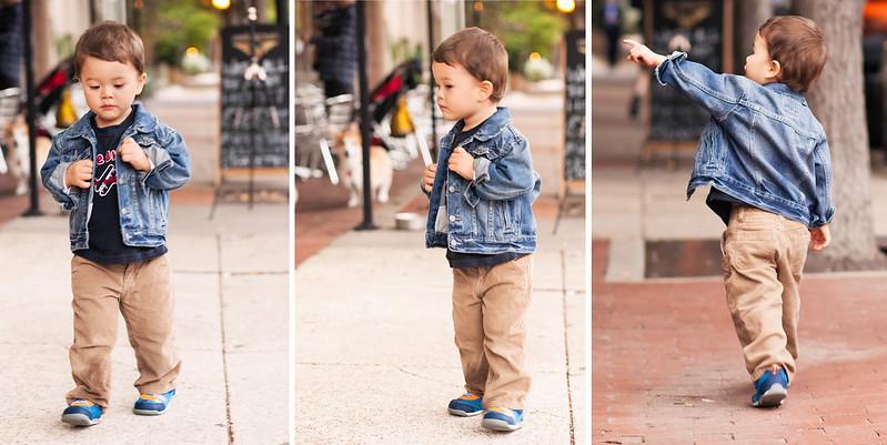 cute & little   toddler kids fashion   toddler boy denim jacket, graphic tee, corduroy pants   fall winter style