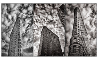 Image of Flatiron Building near City of Hoboken. newyorkcity sky blackandwhite monochrome architecture clouds blog manhattan flatironbuilding cloudporn enlight iphoneography iphone6plus shotoniphone6