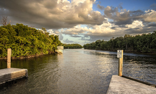 poncedeleon historicalpark puntagorda florida fl charlottecounty peaceriver charlotteharbor canal water waves reflections clouds docks mangroves shore shoreline roots sunset evening stevefrazierphotography landscape waterscape canoneos60d beautiful peaceful boatramp nature