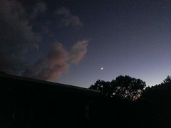 Clouds, moon, and dusk
