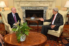 U.S. Secretary of State John Kerry meets with Irish Foreign Minister Charles Flanagan at the U.S. Department of State in Washington, D.C., on September 30, 2014. [State Department photo/ Public Domain]