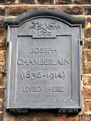 Photo of Joseph Chamberlain black plaque