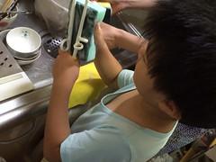 箸と食器を洗うとらちゃん 2014/9