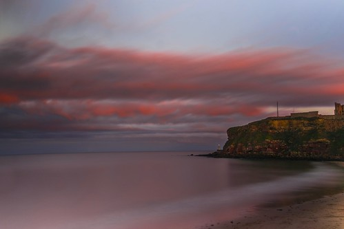 sunset sea sky lighthouse seascape castle beach clouds bay twilight waves tide tyne northsea tynemouth priory