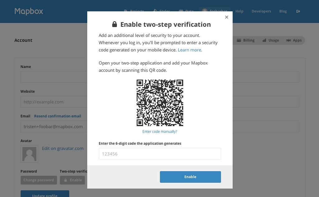 Enabling two step auth from the account screen
