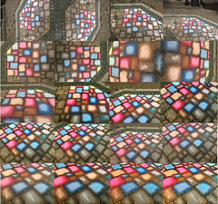 Photo collage of colored bricks