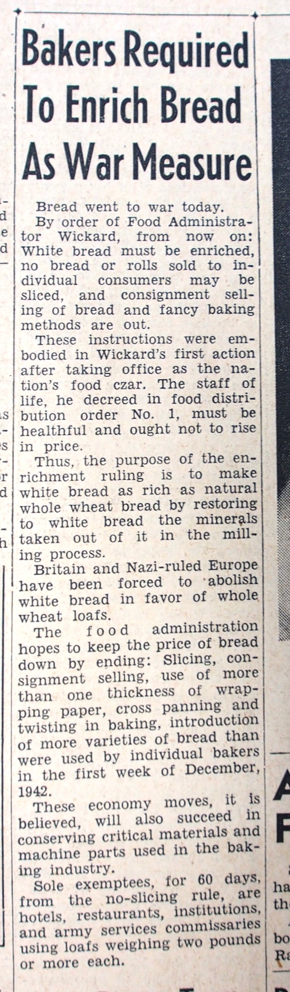 enriched bread 1943