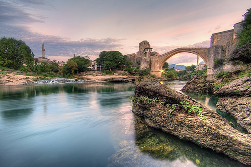 bridge sunrise river europe mostar bosnia most herzegovina balkans stari neretva
