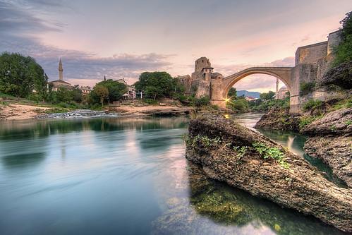 bridge sunrise river europe mostar bosnia most herzegovina balkans stari neretva