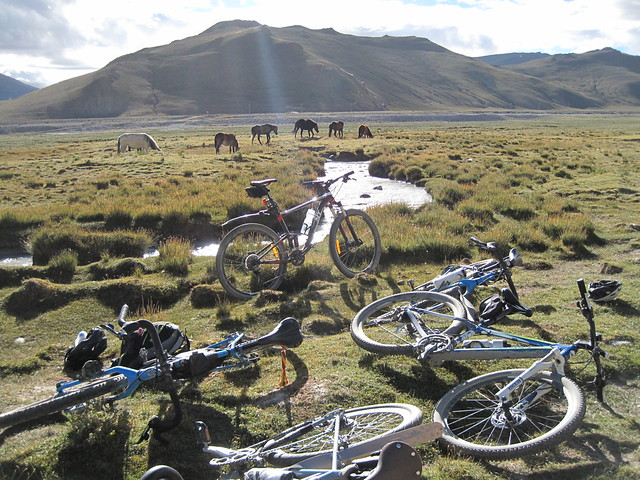 Dusty bikes after the road back from Chomolungma, Mt Everest