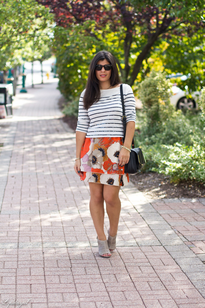 sequin striped tee, floral skirt.jpg