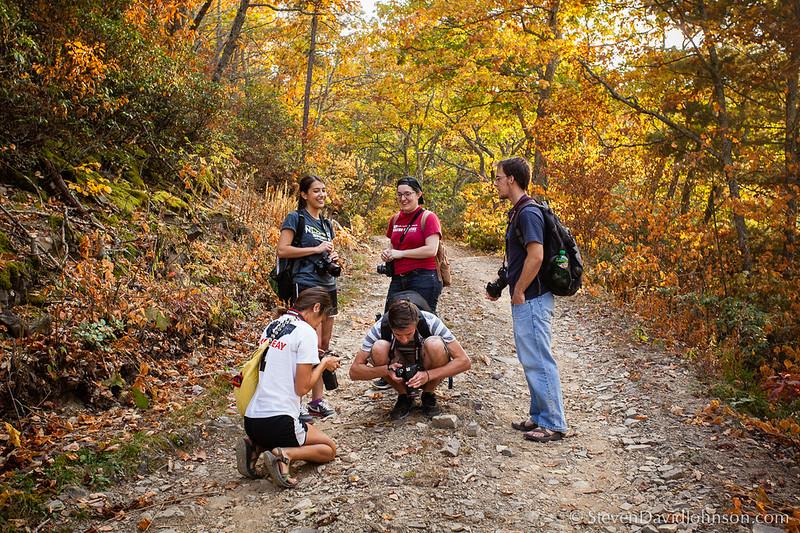 EMU Conservation Photography students on Shenandoah Mountain, Virginia