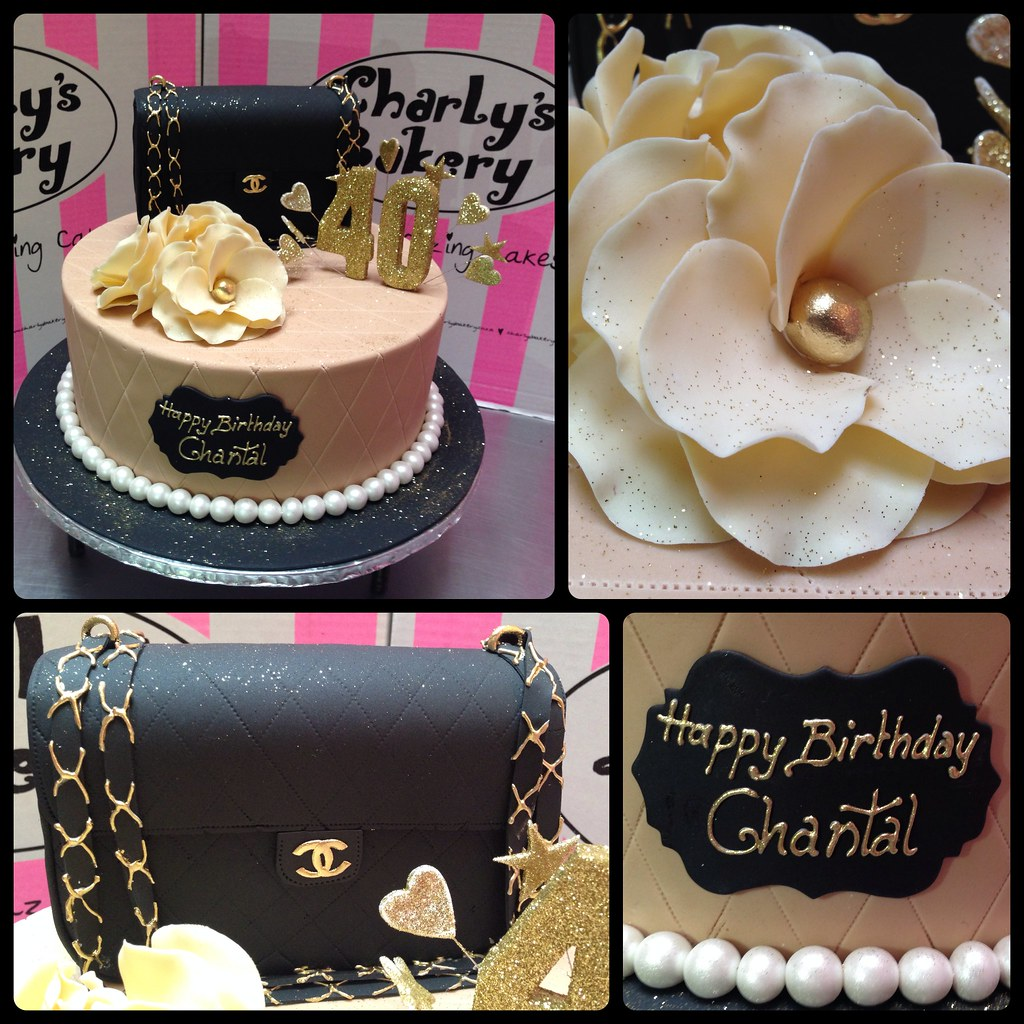 Chanel Themed 40th Birthday Cake Decorated With 3d Quilted Handbag Topper Fondant Roses Glittered