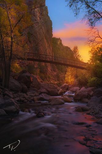 sunset colorado vibrant vivid boulder slowshutter majestic rushingwater southbouldercreek eldoradocanyonstatepark gorgeoussunset tylerporter professionallandscape tylerporterphotography