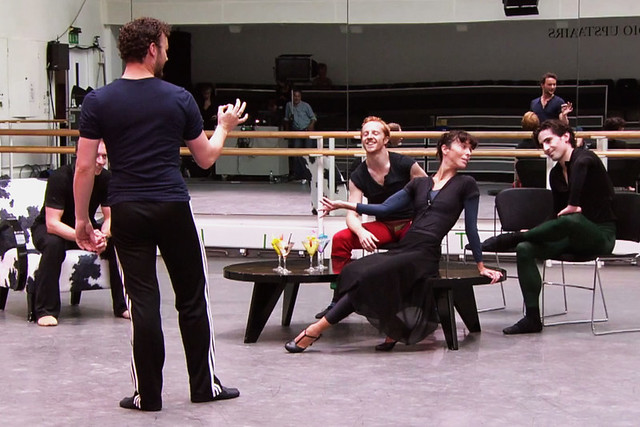 Liam Scarlett with Royal Ballet dancers in rehearsal for The Age of Anxiety