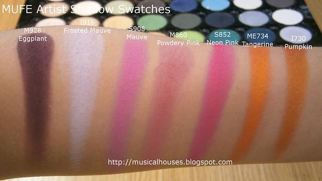 MUFE Artist Shadow Eyeshadow Swatches 2 Row 7