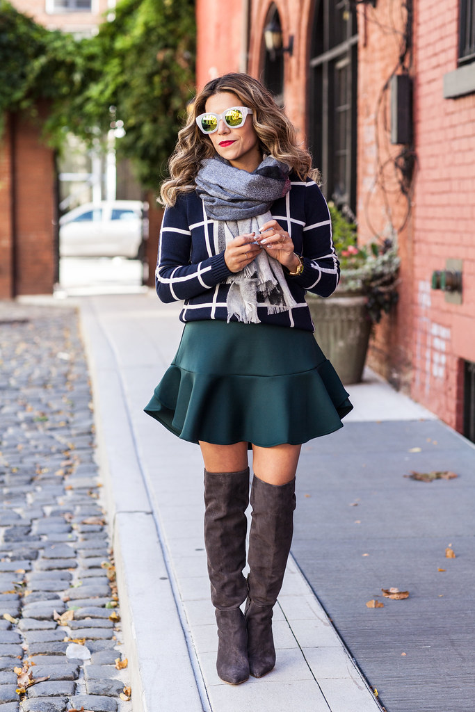 Mixing Prints windowpane sweater mini skirt neoprene skirt joie olivia boots piperlime clothing jcrew scarf plaid nordstrom sunglasses grey suede boots new york fashion blogger corporate fashion blogger fall outfit layering how to layer with prints skirt and boots over the knee boots