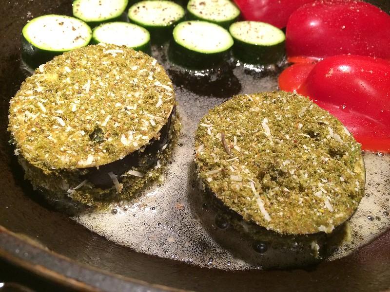 Herb crusted rack of lamb : Add the aubergine