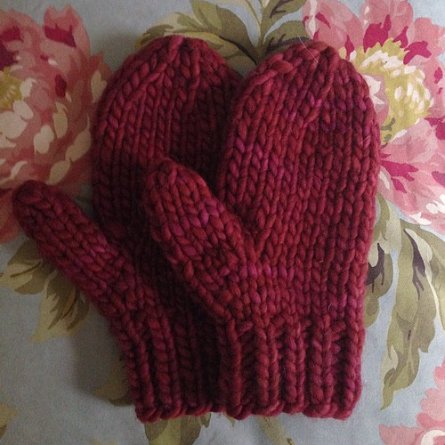 Got a few hours? Knit these mittens. Pattern on Ravelry Quick Bulky Mitten by Aimee Pelletier.