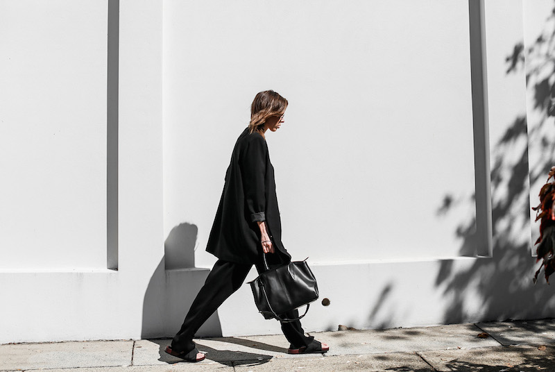 modern legacy fashion blog suit street style Celine slide sandals Max Mara wide leg pants boyfriend blazer Alexander Wang bag all black work wear (11 of 13)