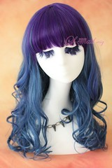 50cm long purple&peacockblue wavy fashion wig