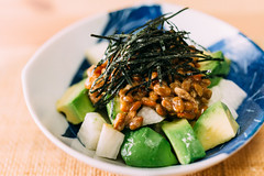 Natto, avocado and chinese yam salad