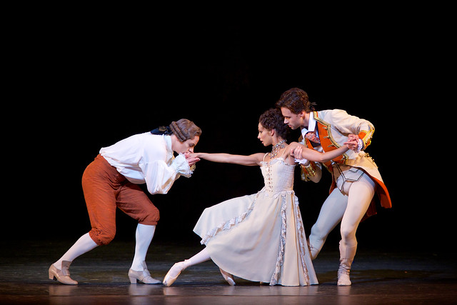 Francesca Hayward as Manon, Thomas Whitehead as Monsieur G.M. and Alexander Campbell as Lescaut in MacMillan's Manon (C)ROH/Alice Pennefather, 2014
