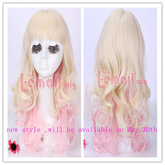 NEW Mar.50cm Long Mix beige pink Cosplay wig ZY02