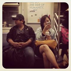 Tuesday night F train. #nycsubwayportraits #nyc #train #subway #publictransportation #commute #ftrain