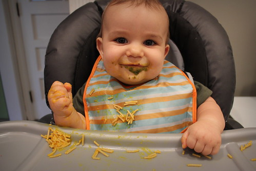 20140930. Willem's first spaghetti (with winter squash).